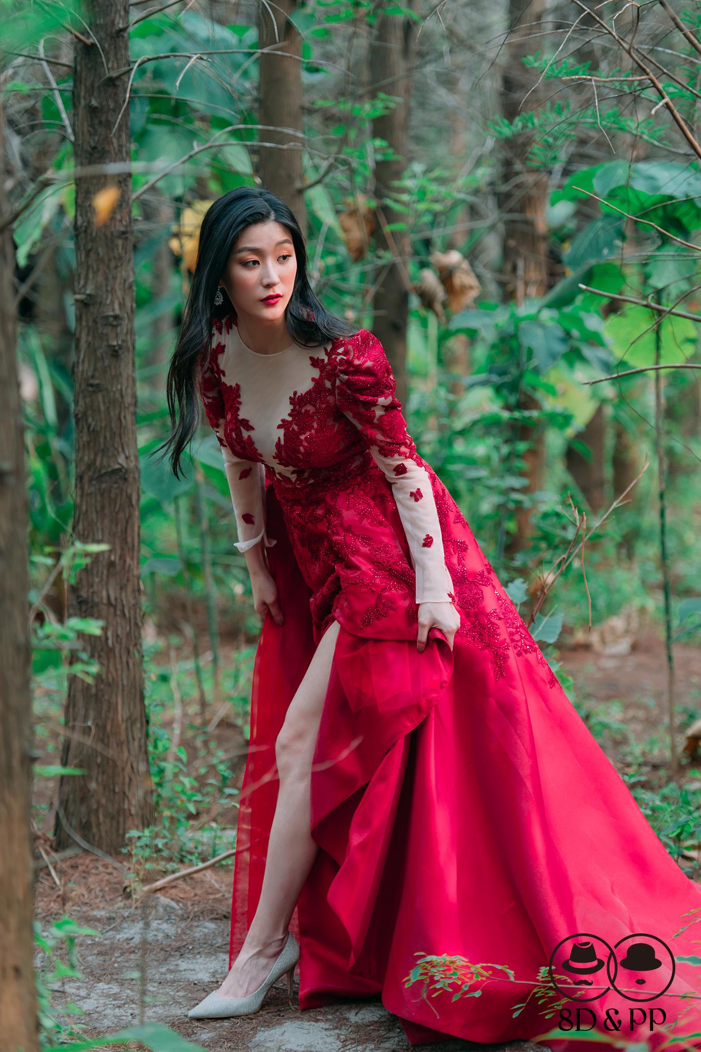 經典水鑽開岔紅禮服   八田伴伴 手作禮服婚物所