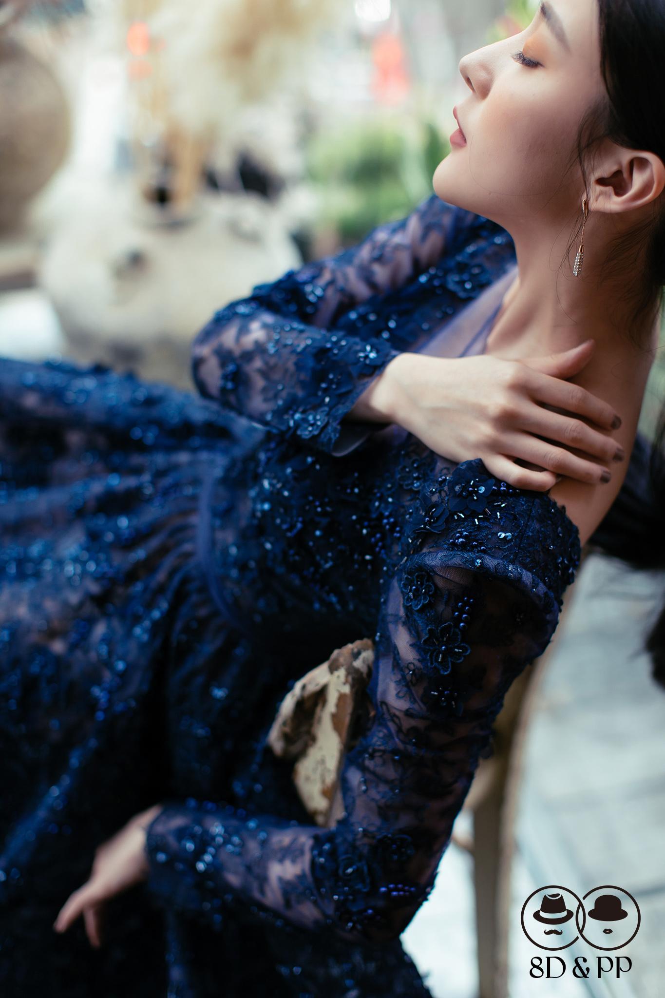 低V裸紗手工刺繡立體花晚禮服 | 杜拜手工訂製款 | 八田伴伴 手作禮服婚物所